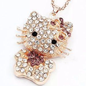 NWOT Betsey Johnson Cat Bling Pendant & Chain